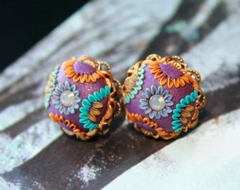 Jewel Tones Stud earrings with swarowski crystal and  Polymer clay in brass filigree setting - Sweet Sunrise