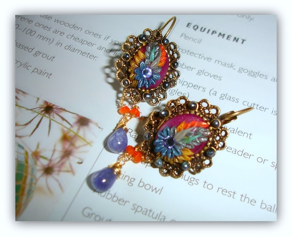 Vintage Ornate Brass Tanzanite earrings with Freshwater seed pearls ,Carnelian,  Polymerclay and Swarowski rhinestones - Siren's Song
