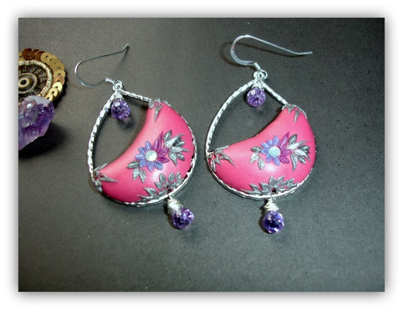 Matte silver teardrop finding with amethyst onions and hot pink purple and silver polymerclay in sterling silver - Flamingo