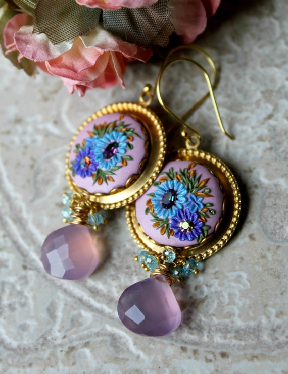 Reserved - Blue Topaz quartz , Mauve Pink Chalcedony gemstone earrings with Brass filigree and Clay floral details - A Stroll in the Garden