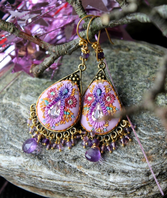 Shades of Amethyst with brass filigree frame and clay floral 24k gold Statement earrings - A Day Under the Lilac Sky