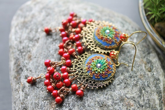 Vintage Coral Glass,vintage earwires with real red coral,clay floral details on Bright Blue multicolor Gold earrings - The Enchanting Gypsy