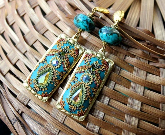 Turquoise clay floral gold earrings -Vintage Brass ornate earrings - A Beautiful Kind of Day