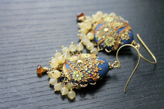 Hessonite Garnet, Yellow Jade and clay floral  gold earrings  in Navy and shades of yellow and Gold -  Buttercup Garden