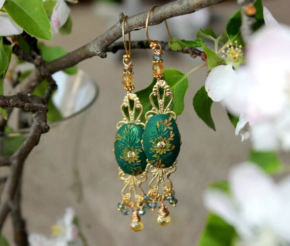 Citrine, Citrine CZ, Pale Pine Green Mystic Quartz cluster earrings with swarowski crystal and clay details - A Dance before the Rain