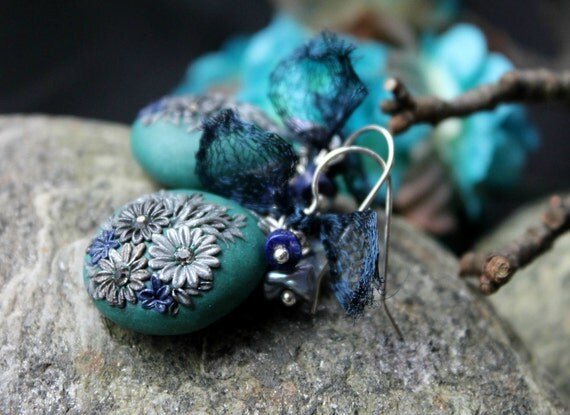 Lapiz Lazuli and Silver Keishi Pearl earrings sterling silver - Clay floral earrings -bali sterling silver and Titanium Mesh - Soaring High