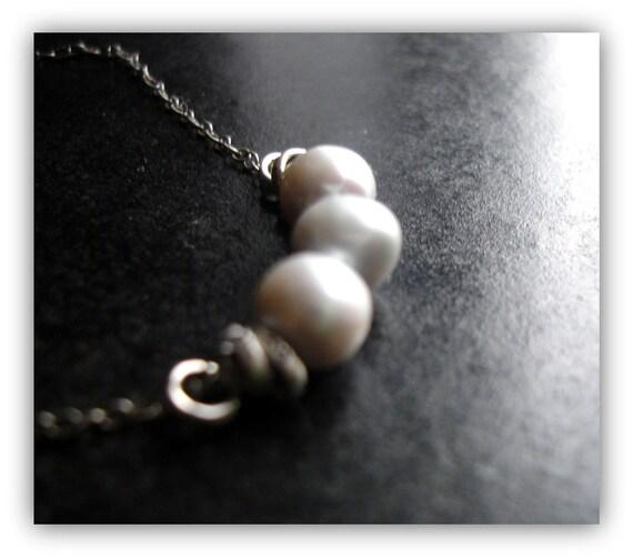 Platinum Pearl necklace, Bali links in Oxidised Sterling Necklace - Platinum Blondes