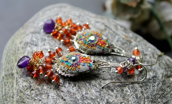 mexican Opal Quartz ,Amethyst  cluster earrings with bright clay floral details sterling silver earrings -  Mid Summer Dreams
