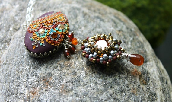 Swarowski beaded bead, handmade clay floral cabachon and hessonite garnet in sterling necklace -  Rain in Sahara