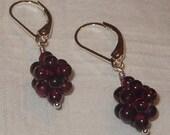 sterling silver garnet berries cluster earrings