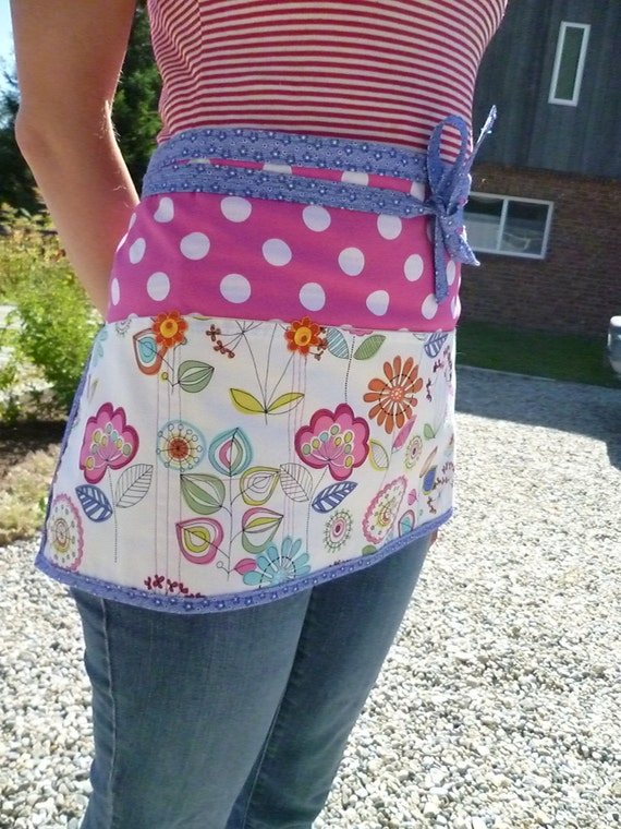 Apron with Polka Dots and Lava Flowers Utility Half Apron