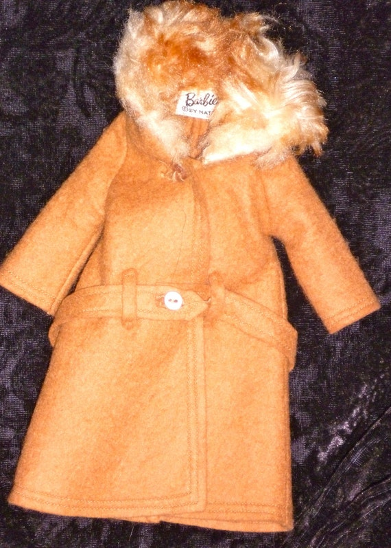 Vintage Barbie It's Cold Outside No. 819 Tan Coat with Belt EXCELLENT CONDITION
