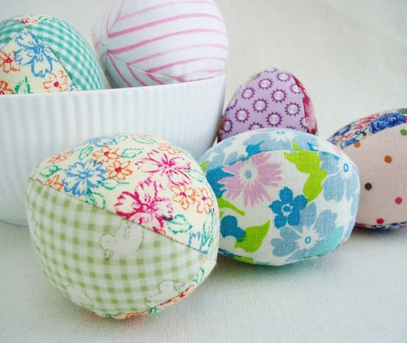 Easter Eggs Fabric Set of 6 Colorful Prints Soft Toy