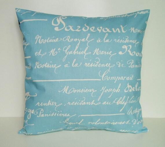 Blue Pillow Cover Script Throw Pillow Accent Decorative Cotton Penmanship Home Decor 20x20