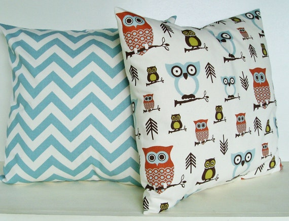 Owl Pillow Covers Chevron Throw Pillows Accent Decorative Couch 18x18 Set of 2 Cotton Home Decor 18 inch