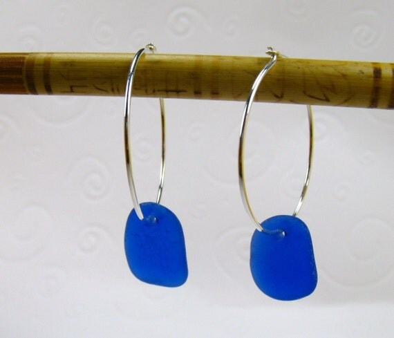 Cobalt Blue Sea Glass Hoops