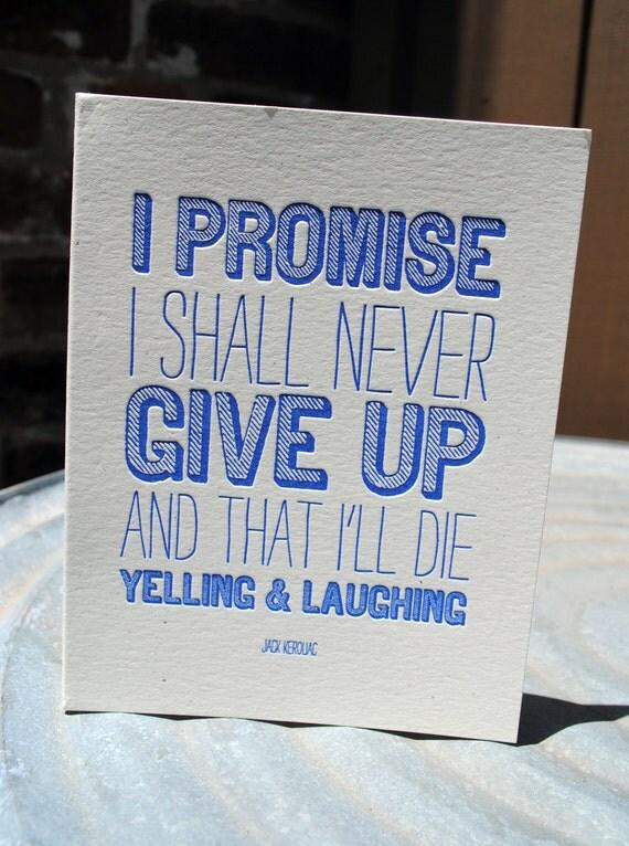 i promise. letterpress printed card.