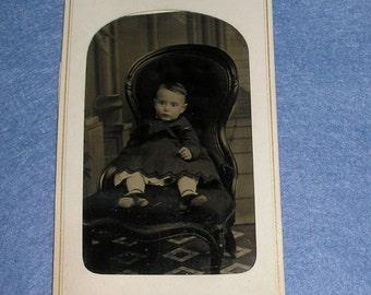 Vintage Tin Baby Photo