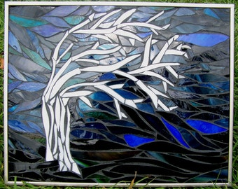 Windswept Mosaic Tree in Dark Blues Blacks Dark Green and Stark White