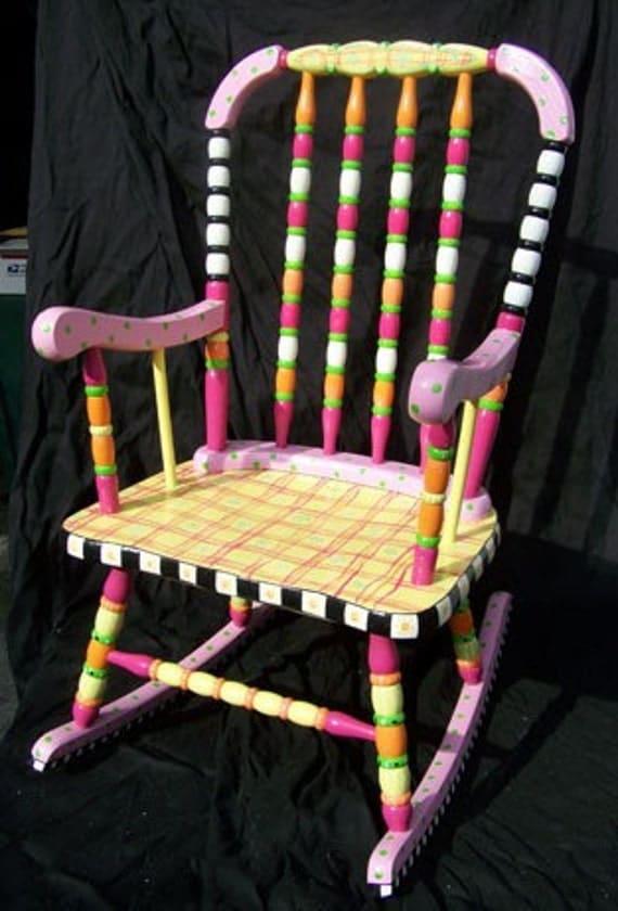 Child s hand painted rocking chair - Children S Hand Painted Rocking Chair Girly And Bright