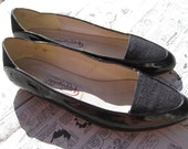 Vintage Fabric Patent Pointed Flat Shoes, size 7