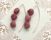 FREE SHIPPING Stacked Rhodonite Nugget Earrings