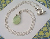 FREE SHIPPING, Prehnite Drop Necklace