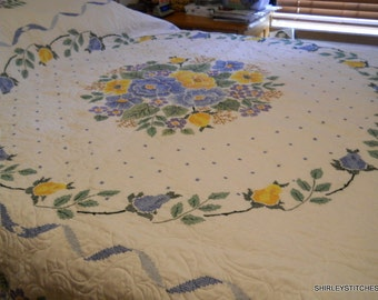 Hand embroidered  bouquet of roses quilt