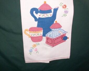Hand Embroidery-Vintage appliqued tea towel