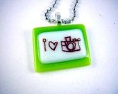 I heart camera handmade glass fused necklace