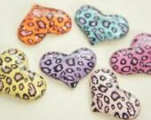 6 pcs Leopard Printed Heart Cabochon (24mm32mm)  IK071 (((LAST)))