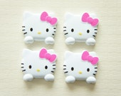 4 pcs Small Hello Kitty Face Cabochon (24mm26mm)
