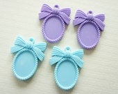 4 pcs Cameo Finding Charm (34mm42mm) Blue/Purple DR333 (((LAST)))
