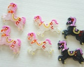 SALE Pink and Black Only 6 pcs Pony Cabochon (25mm28mm)  DR331