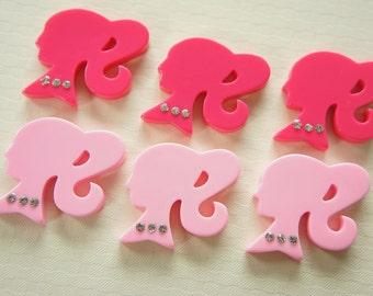 SALE 6 pcs Girl Cabochon (30mm) Pinks DR263