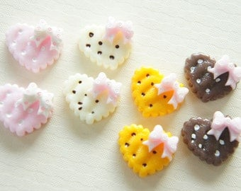 7 pcs Heart Cookie with Bow Cabochon (17mm20mm) CD299 (((LAST/no restock)))