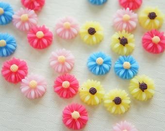 SALE 16 pcs Matte Daisy Flower Cabochon (12mm) FL252 (((LAST)))