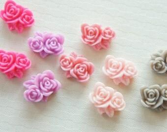 10 pcs 2 Roses Cabochon (13mm16mm) FL260 (((LAST)))