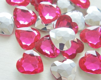 10 pcs 3D Acrylic Heart Rhinestones/Gems (25mm) Dark Pink