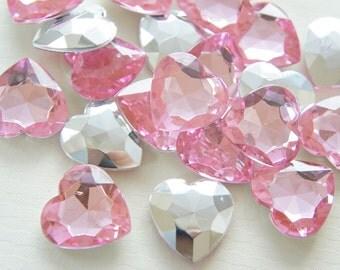 10 pcs 3D Acrylic Heart Rhinestones/Gems (25mm) Light Pink
