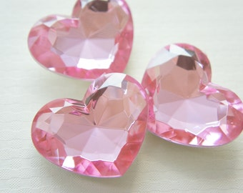 3 pcs High Quality Big 3D Heart Rhinestones/Gems (35mm42mm) Pink