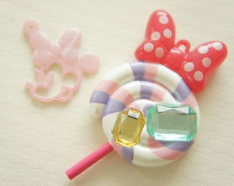 2 pcs Big Lollipop with Minnie Mouse Bow Charm and Minnie Charm (42mm H80mm) (((LAST)))