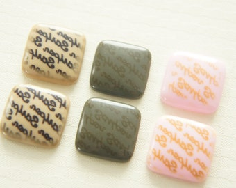 6 pcs Letters Printed Square Chocolate Cabochon (19mm) CD336 (((LAST)))