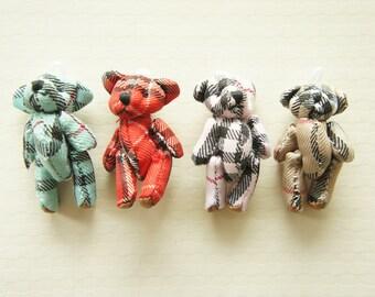 Clearance SALE 8 pcs Teddy Check Print Bear Charm (40mm) DO038 (((LAST)))
