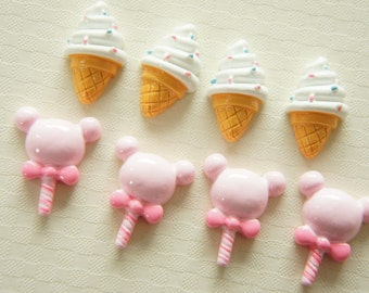 8 pcs Soft Serve Cone and ice candy Cabochon (13mm-22mm) CD357