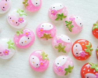 SALE Assorted 8 pcs Strawberry-Chan Cabochon (15mm16mm) Clear DR330 (((LAST)))