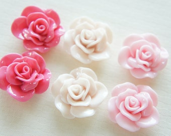 6 pcs Lovely Milky Color Rose Cabochon (27mm29mm) FL278