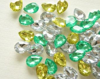 20 pcs Mixed Drop 3D Pointy Back Acrylic Rhinestones/Gems (13mm18mm) Green Set AA001