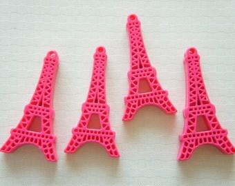 6 pcs Glossy Eiffel Tower Charm (23mm45mm) Dark Pink AZ014