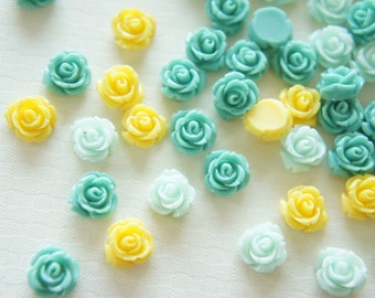 12 pcs Teeny Lovely Color Rose Cabochon (10mm11mm) FL284